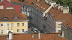 A row of buildings seen from above in Warsaw Stock Footage
