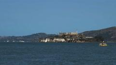 Alcatraz and small ferry Stock Footage
