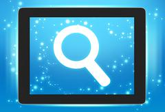 Screen tablet with icon magnifier wheels on the screen Stock Illustration
