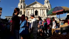 People walking on cathedral square Stock Footage