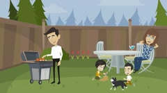 Cook meat barbecue on the nature of the family , a family picnic in the country Stock Footage