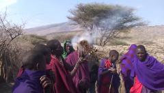 Masai tribesmen making fire. Tanzania Stock Footage