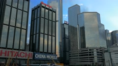 Skyscapers in Hong Kong. Wan Chai District. Tilting shot. Stock Footage