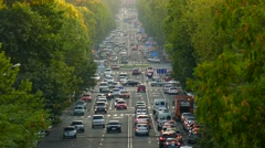 Busy Eastern European Street with Traffic Stock Footage