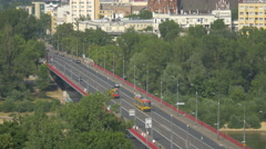 Traffic on Silesian-Dabrowski Bridge over Vistula River in Warsaw Stock Footage