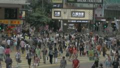 People crossing street in Causeway Bay, Hong Kong. Cinelike D Stock Footage