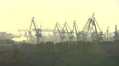 The scorching sun over the industrial city - stock footage