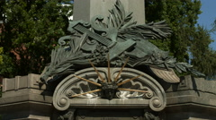 The beautiful commemoration plaque on the statue of Adam Mickiewicz, Warsaw Stock Footage