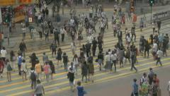 People crossing street in Wan Chai, Hong Kong. Flat picture profile - stock footage