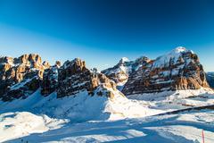 Italian Dolomiti ready for ski season - stock photo