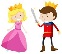 Prince and princess looking happy Stock Illustration