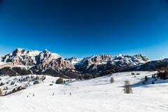 Italian Dolomiti ready for ski season - stock photo