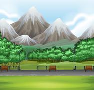 Nature scene with park and mountain - stock illustration