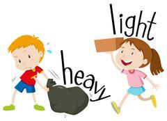 Opposite adjectives heavy and light - stock illustration