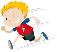 Little boy running alone - stock illustration