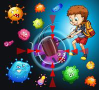 Boy fighting with bacteria - stock illustration