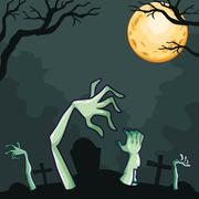 Zombies coming out of the grave at night - stock illustration