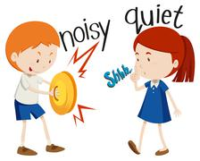 Opposite adjectives noisy and quiet - stock illustration