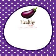 Border design with eggplant - stock illustration