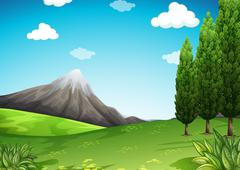 Nature scene with mountain and field - stock illustration