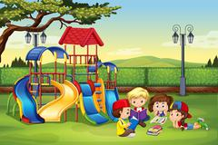 Children reading in the park Stock Illustration