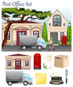 Post office and postal objects - stock illustration