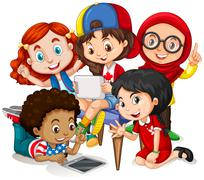 Children working in group - stock illustration