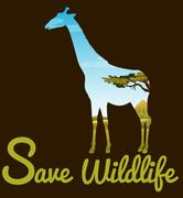 Save wildlife theme with giraffe Stock Illustration