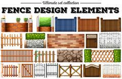 Many fence design elements Stock Illustration