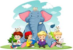 Children and elephant on the lawn - stock illustration