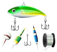 Different kind of fishing equipments Stock Illustration
