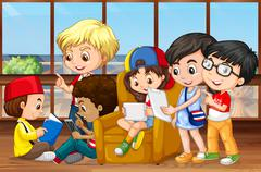 Children reading and working in group - stock illustration