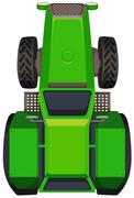 Top view of green tractor - stock illustration