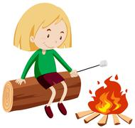 Girl at the campfire - stock illustration