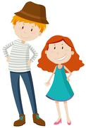 Tall man and short girl - stock illustration
