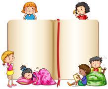 Empty book and children sleeping Stock Illustration