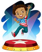 American boy jumping up on stage - stock illustration