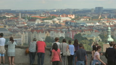 Tourists admiring the beautiful view of Prague Stock Footage