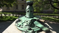 Grave of Suomenlinna fortress founder Augustin Ehrensvärd, Helsinki, Finland. Stock Footage