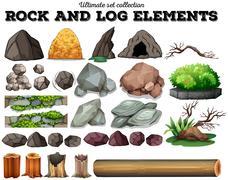 Rock and log elements - stock illustration