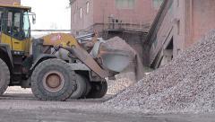 Excavator Loads Gravel Into Truck Stock Footage