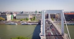 Suspension Bridge in Budapest 4K Tilt-Shift Timelapse Stock Footage