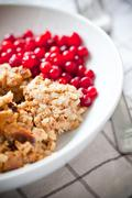 Traditional Finnish liver casserole with lingonberries Stock Photos