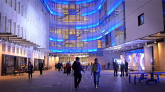 BBC Broadcasting House at night, London, UK Stock Footage