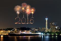 2016 New Year Fireworks celebrating over marina bay Kuvituskuvat
