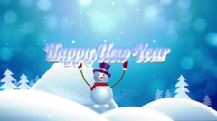 "Stock Video Footage of Snowman brings ""Happy New Year"" words, Full HD"