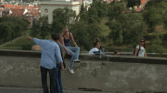 Tourists visiting Prague Castle in the afternoon Stock Footage