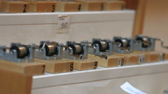 Close up view of small music boxes on a street in Warsaw Stock Footage