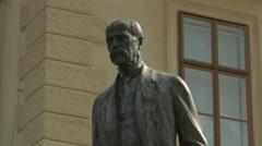 Tomáš Garrigue Masaryk's statue in Prague Stock Footage