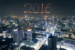 2016 New Year Fireworks celebrating over Bangkok cityscape at night, Thailand Kuvituskuvat